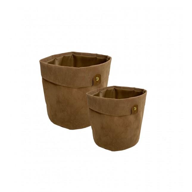Lot de 2 Cache-pot panier tissus camel effet velours D20/D23cm