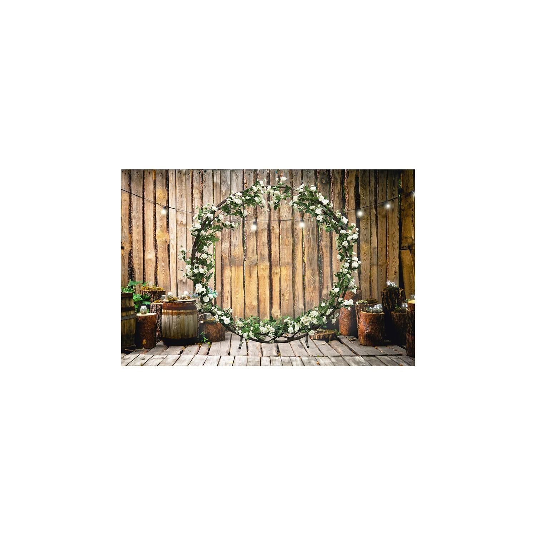 Arche géante ronde de roses artificielles blanches Ligne Déco