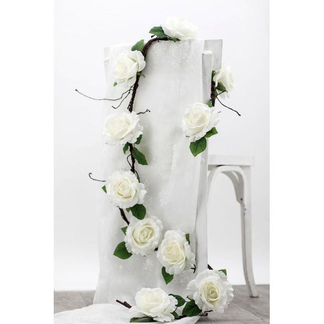 Guirlande artificielle roses blanches Ligne Déco